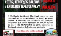 Prefeitura passa a multar terrenos irregulares em Espera Feliz