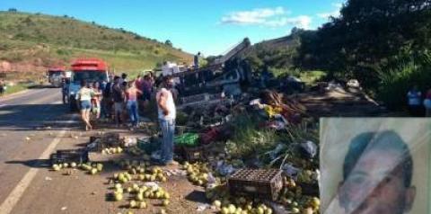 Caminhão carregado de maracujá capota próximo a Divino e ajudante morre no local