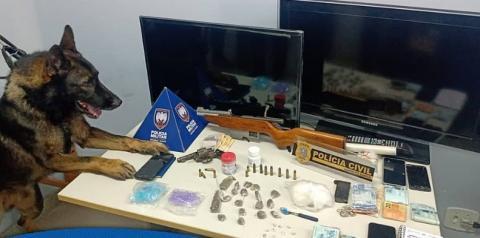 Operação conjunta da Polícia Civil e Polícia Militar aprende armas e drogas em Guaçuí