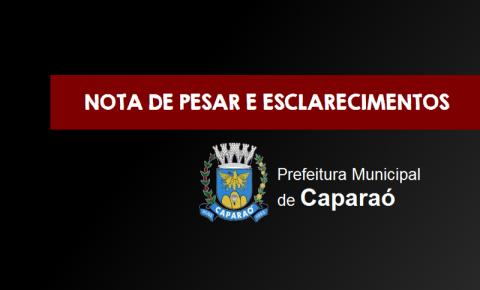 Prefeitura de Caparaó emite nota de pesar e esclarecimentos após óbito confirmado no município