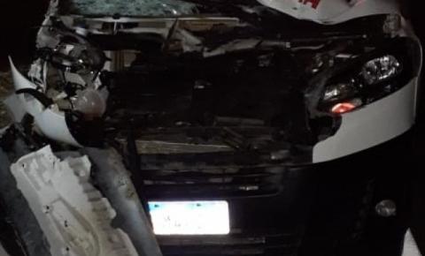 Boi solto na pista provoca acidente com ambulância de Dores do Rio Preto