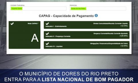 Dores do Rio Preto entra para a lista nacional de bom pagador
