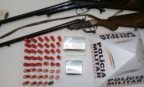 PM apreende armas de fogo e munições em Caparaó