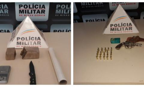 PM de Carangola prende 02 por tráfico de drogas e posse ilegal de arma e munições