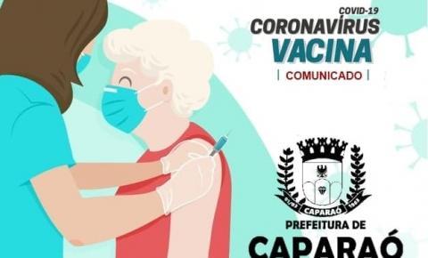 Prefeitura de Caparaó comunica sobre o cronograma de imunizações contra a Covid-19