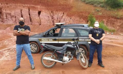 Moto furtada em Carangola é recuperada em Reduto