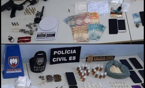 Operação conjunta da PC e PM apreende armas e drogas em Guaçuí