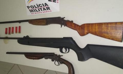 PM apreende três armas de fogo em Alto Jequitibá